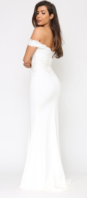 Solaine Off White Shoulder Lace Detail Gown Dress
