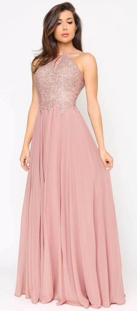 Cariana Mauve Pink Gold Embroidered Gown - Emprada