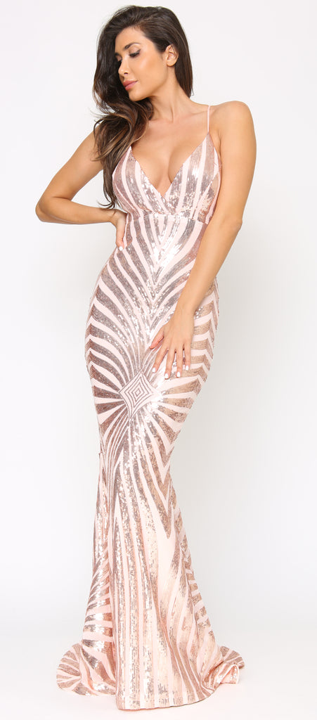 Alondra Rose Gold Pink Sequin Dress - Emprada
