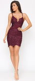 Alvera Plum Purple Floral Lace Applique Dress
