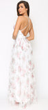 Serilda White Rose Mesh Maxi Dress