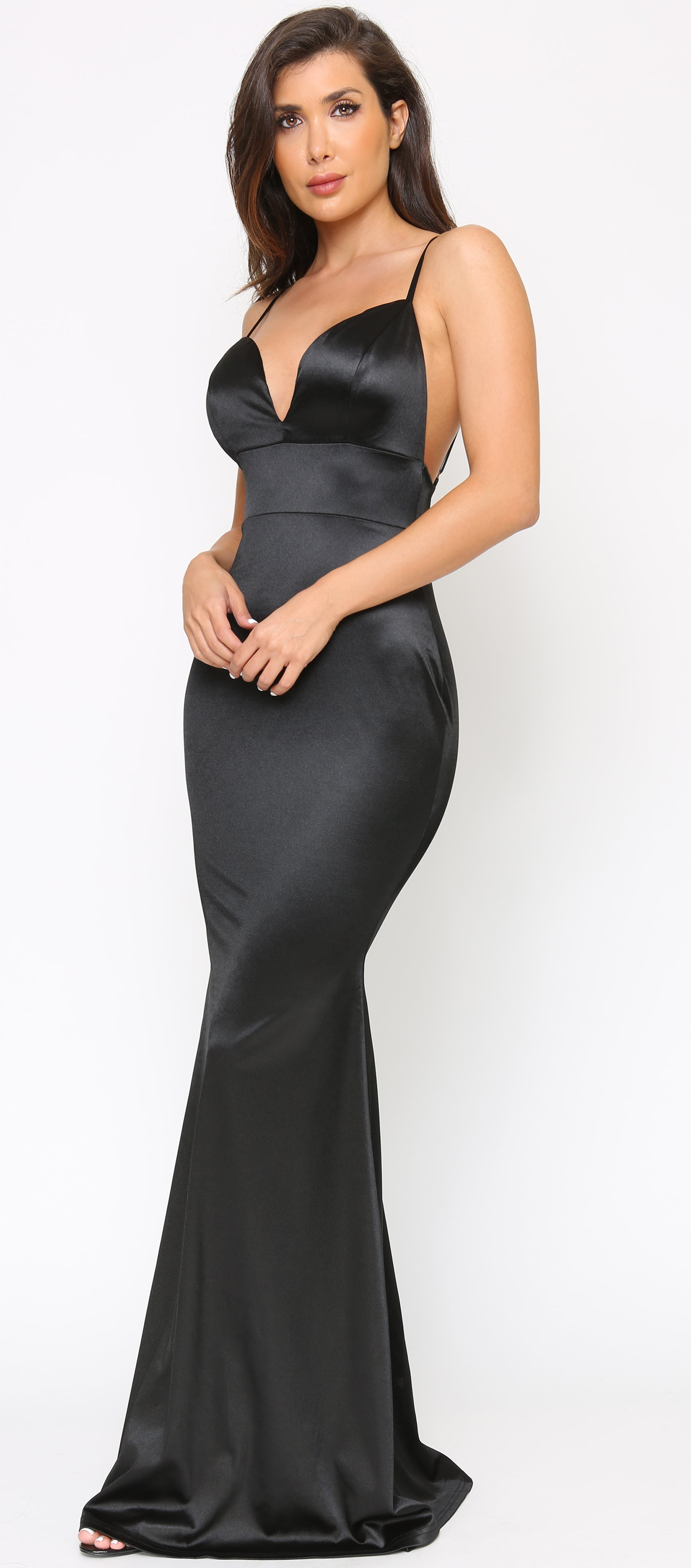 Keeva Black Backless Satin Maxi Dress