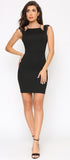 Ember Black Lace Trim Sleeve Dress - Emprada