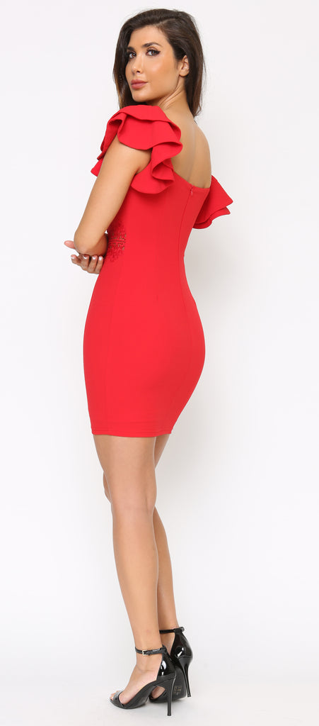 Kay Red Square Neck Ruffle Shoulder Dress