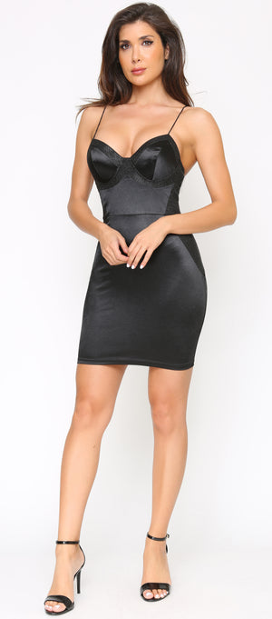 Sadira Black Glitter Satin Bustier Dress