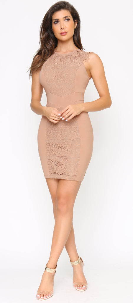 Mehara Beige Lace Detail Dress