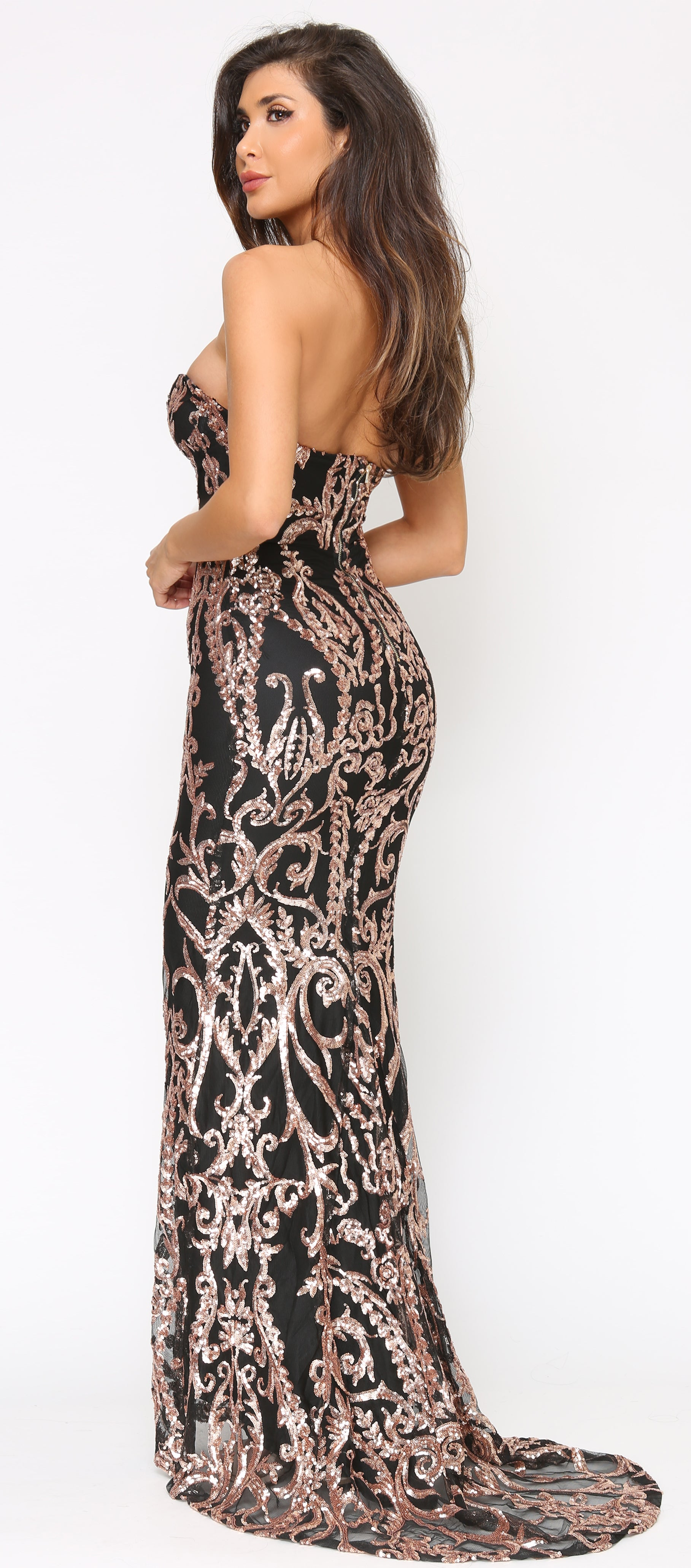 Tamura Black Rose Gold Sequin Gown