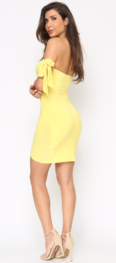 Justina Yellow Arm Tie Dress