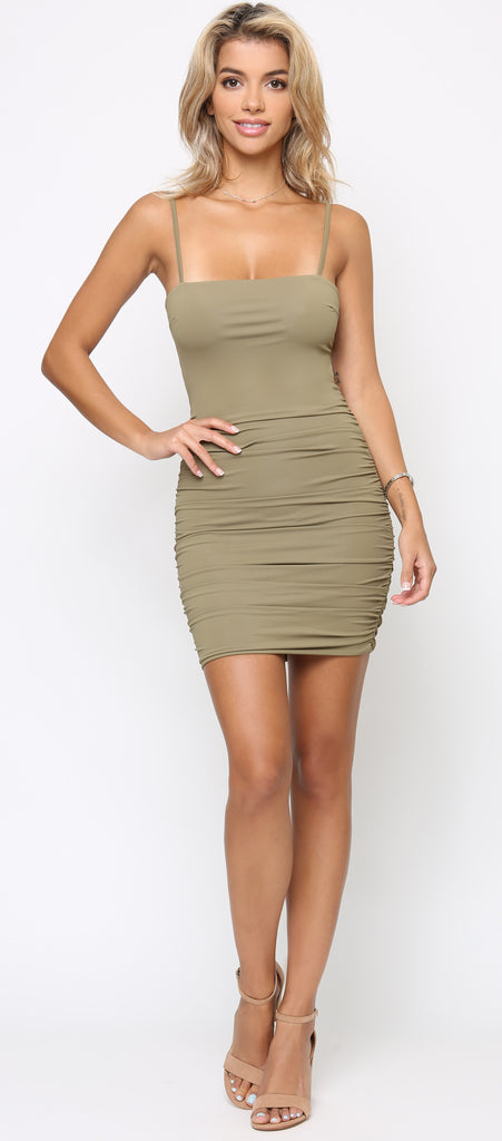 Sophina Olive Green Rushed Back Tie Dress