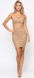 Glena Brown Suede Top and Skirt Set