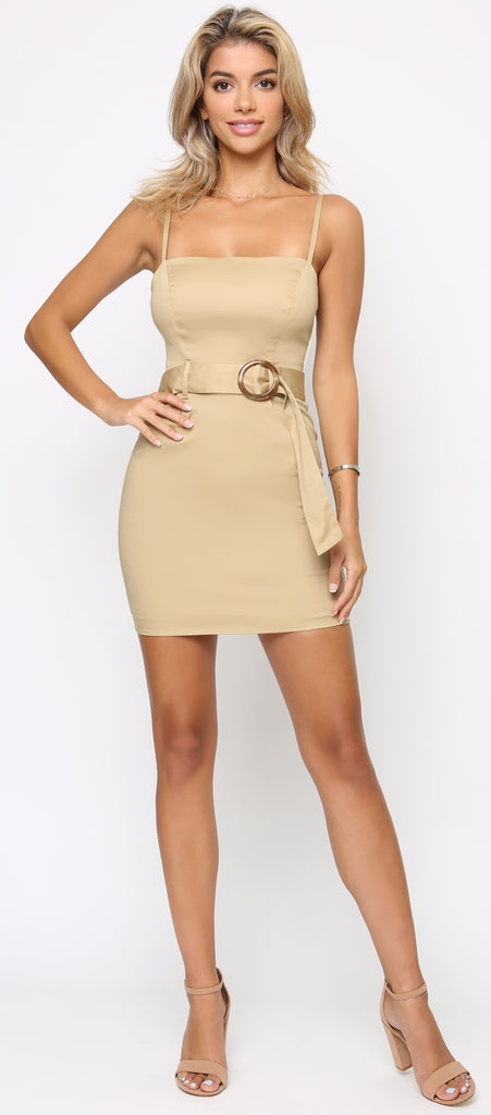 Alice Khaki Beige Safari Belted Dress - Emprada
