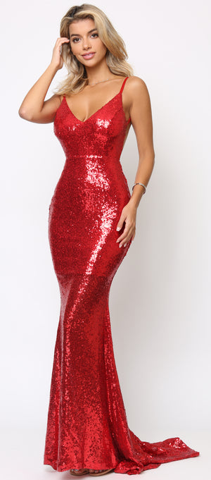 Cateleya Red Sequin Gown - Emprada
