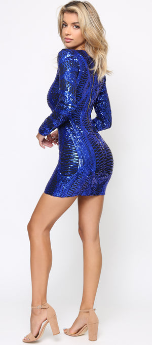 Zana Royal Blue Long Sleeve Sequin Dress