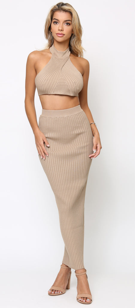 Simone Beige Halter Neck Ribbed Top And Skirt Maxi Set