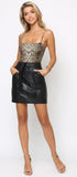 Pandora Black Vegan Leather Pocket Skirt