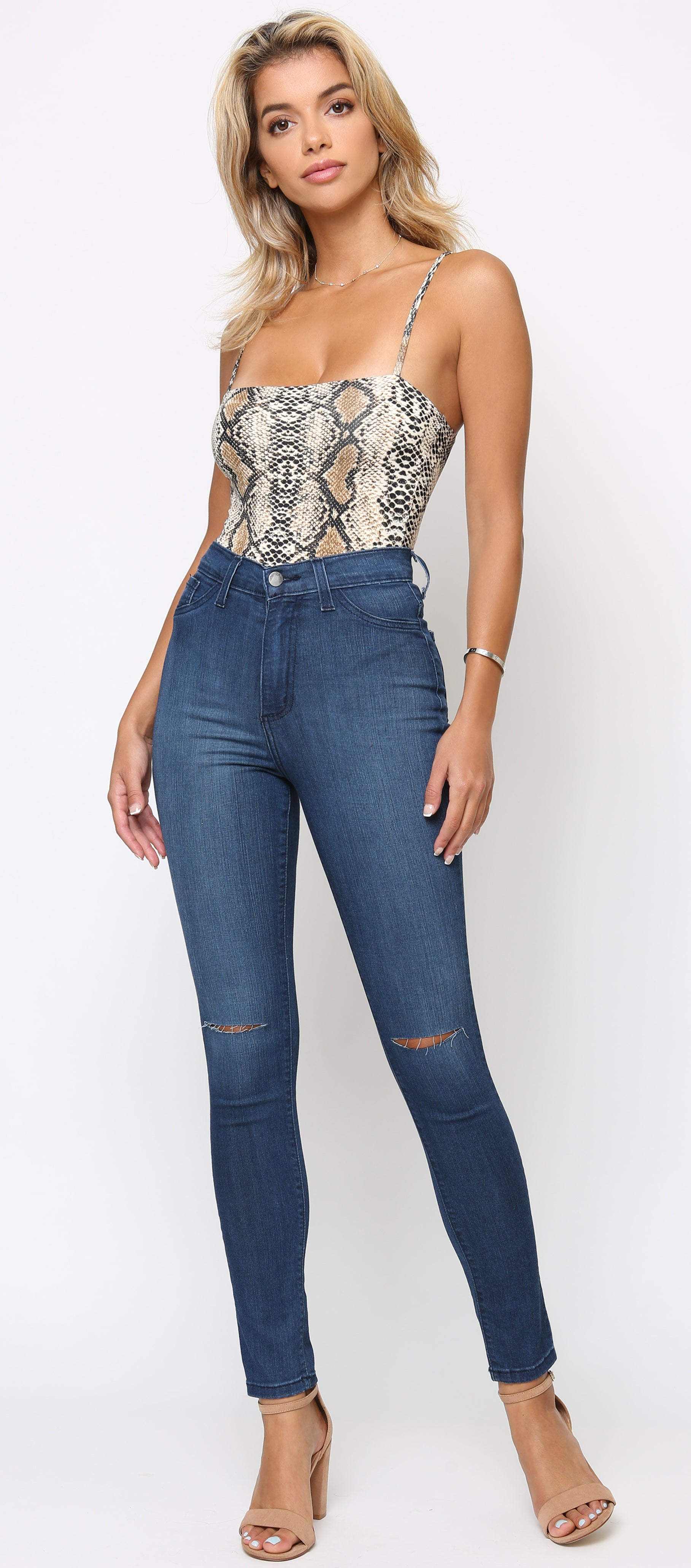 Jani Blue High Waist Knee Cut Stretch Jeans
