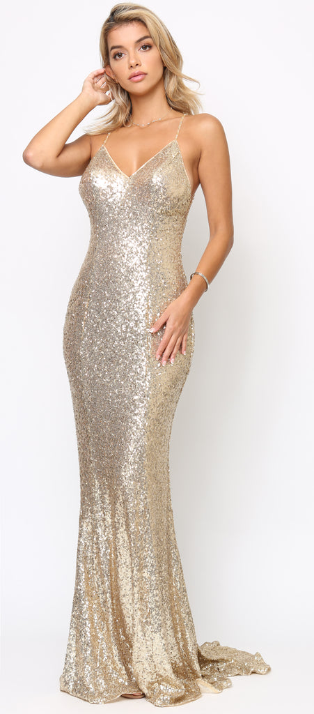 Gwyenth Gold Sequin Gown – Emprada