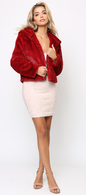 Mave Wine Red Faux Fur Hoodie Jacket