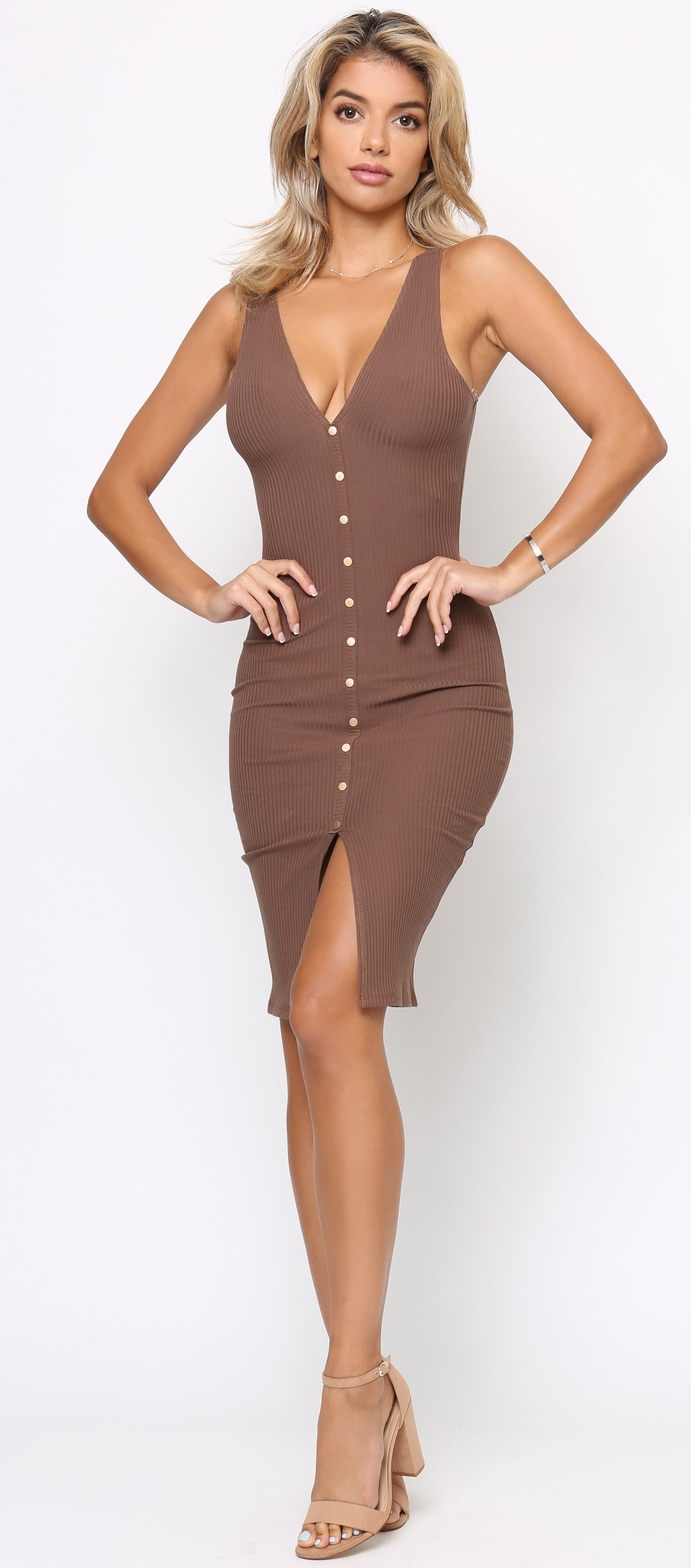Zaria Brown Snap Button Ribbed Dress