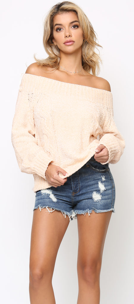 Neve Beige Chenille Off Shoulder Sweater