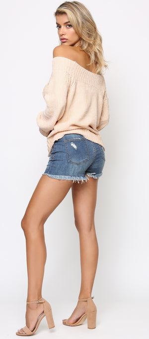 Shay Blue High Rise Fray Shorts