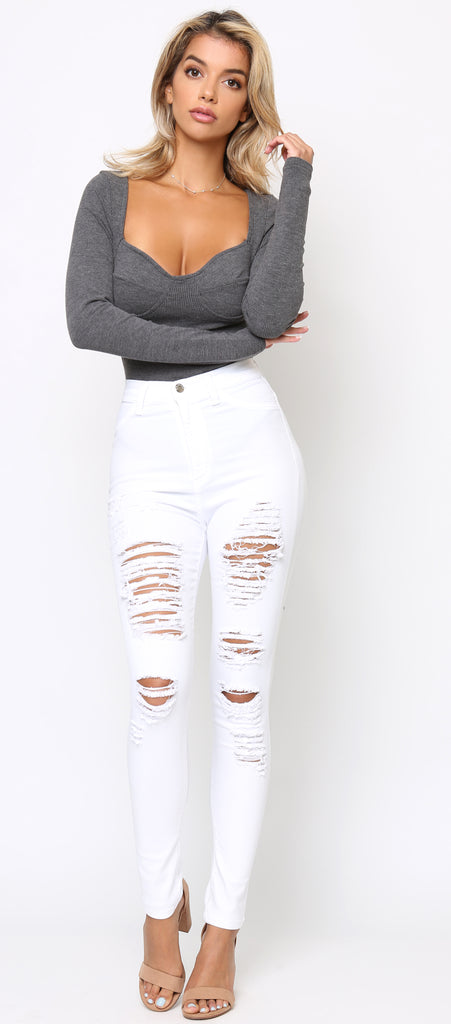 All or Nothing White Distressed High waist Jeans - Emprada