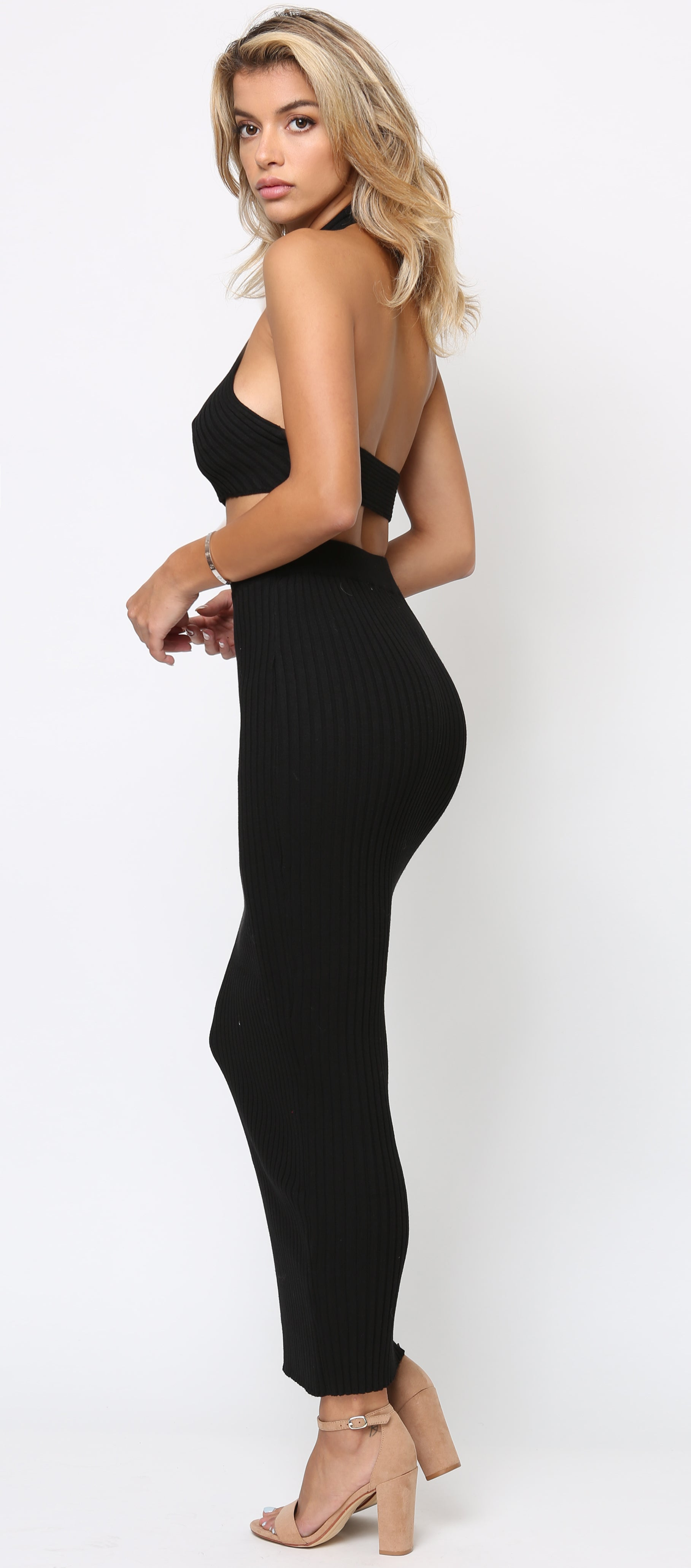Simone Black Halter Neck Ribbed Top And Skirt Maxi Set