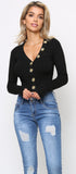 Maddie Black V Neck Button Sweater