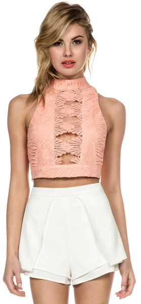 White Flare High Waisted Shorts - Emprada