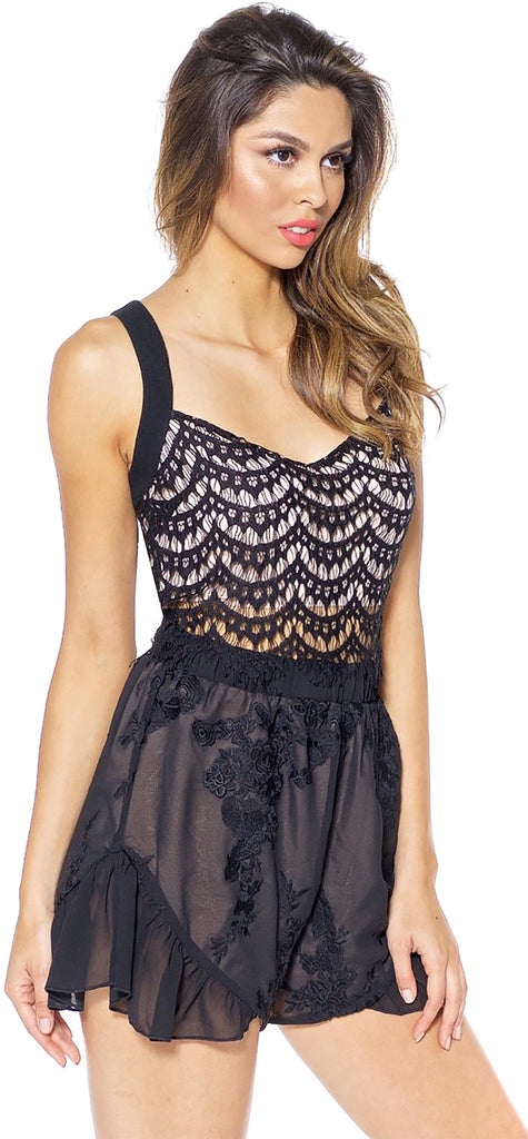 Aria Black Lace Top - Emprada