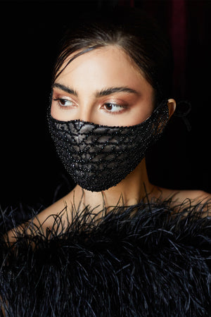 Beaded Black Lattice Mask