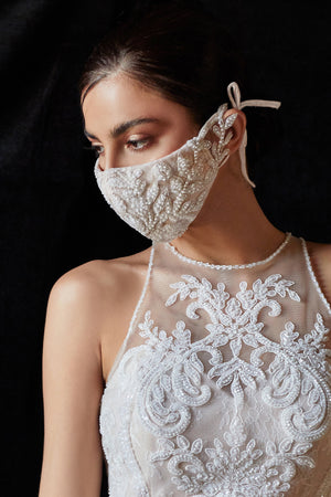 Beaded Off White Nude Fashion Mask