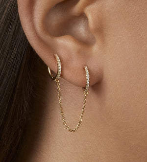Circle Gold Ear Cuff Retractable Earrings
