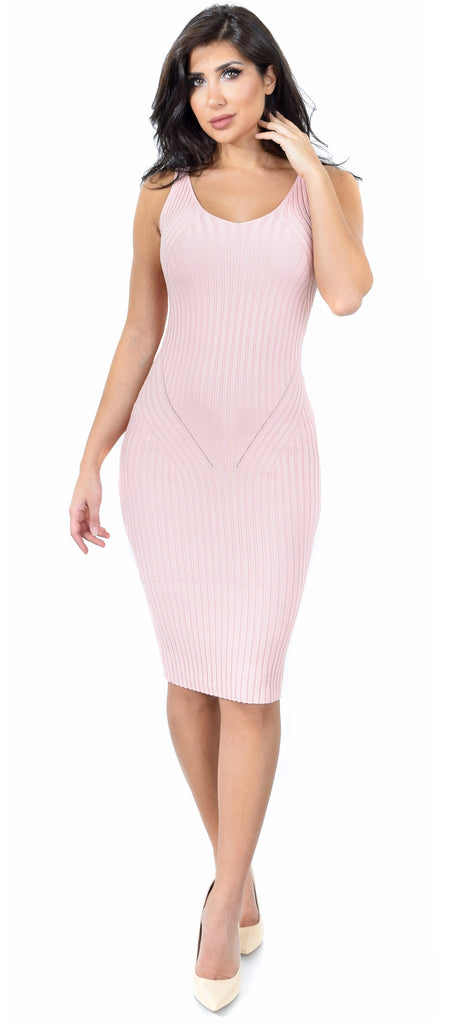 Lila Blush V Neck Ribbed Dress - Emprada