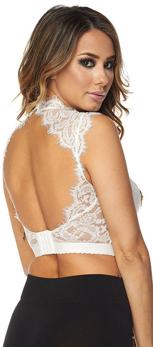 Celest White Lace Strappy Bustier Crop Top - Emprada