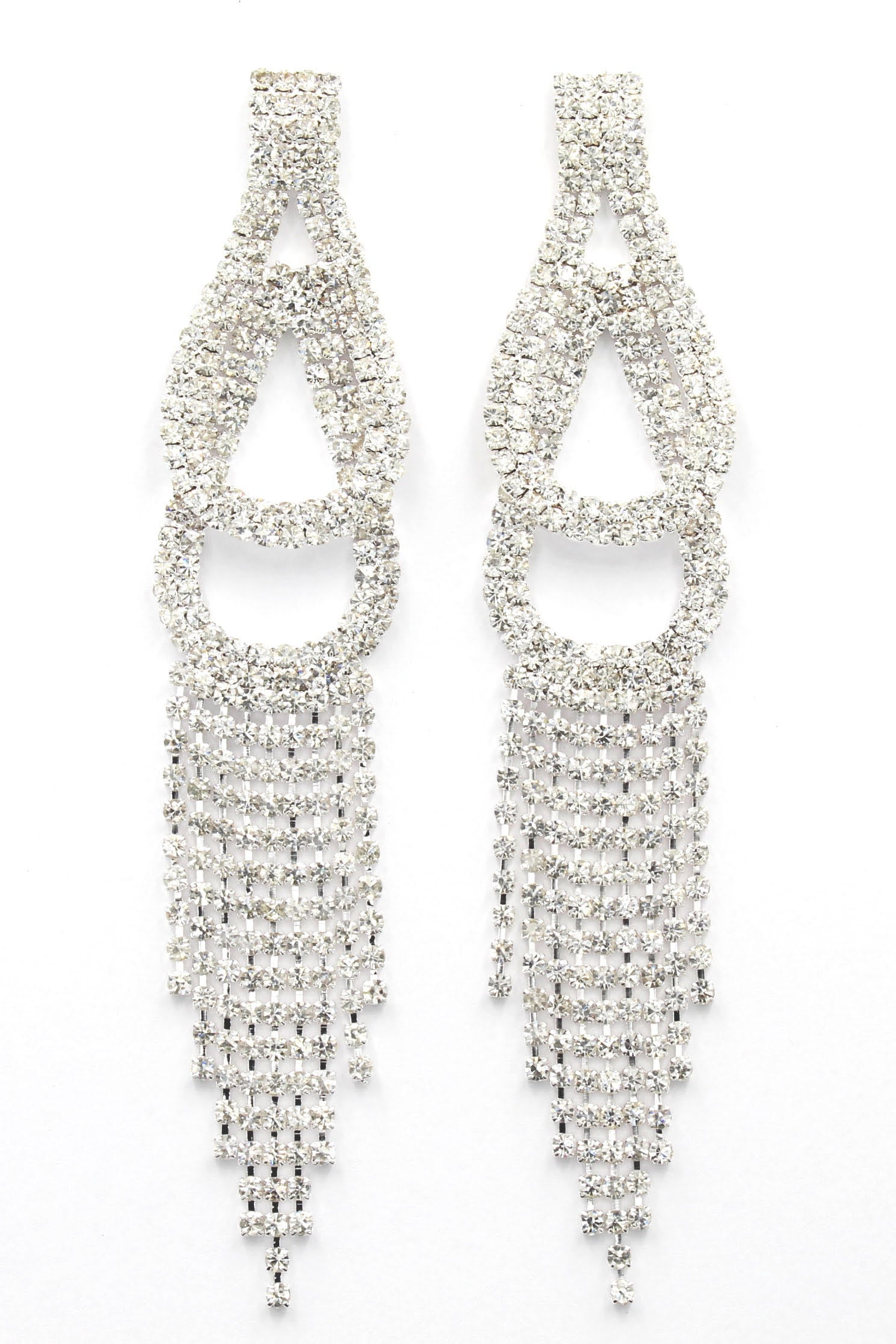Rhinestone Silver Long Tear Drop Earrings