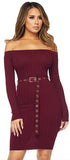 Devon Burgundy Red Off Shoulder Belted Dress - Emprada