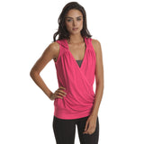 Rose Violet Drop Needle Drape Top - Emprada
