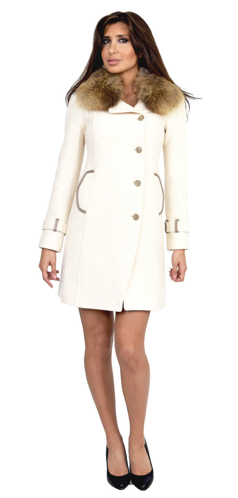 Ren Classic Ivory Fitted Wool Coat With Fur Collar - Emprada