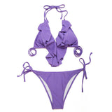 Pinkish Purple Full-Lined Ruffle Triangle Brazilian Bikini Set - Emprada