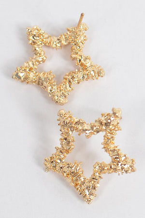Textured Gold Star Earrings