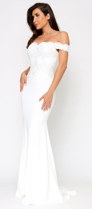 Solaine Off White Shoulder Lace Detail Bridal Gown Dress