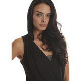 Black Drop Needle Drape Top - Emprada