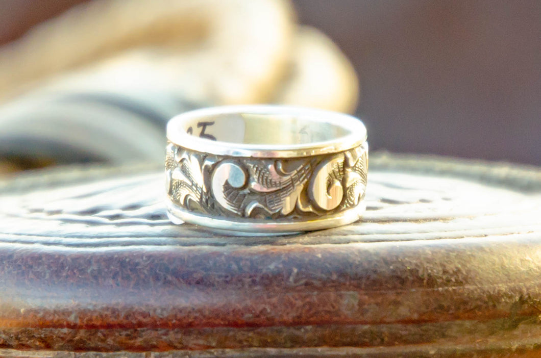 Size 11 1/4- Men's Engraved Silver Ring