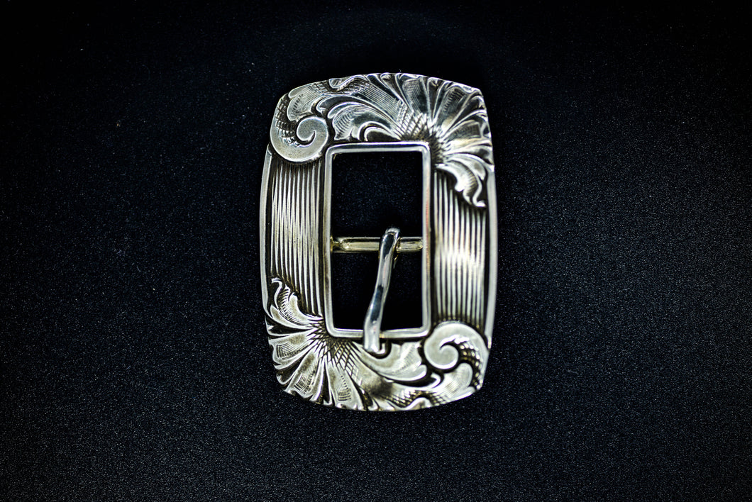 PH Casting- White Bronze Rounded Square Opposing Scroll Buckle- B2