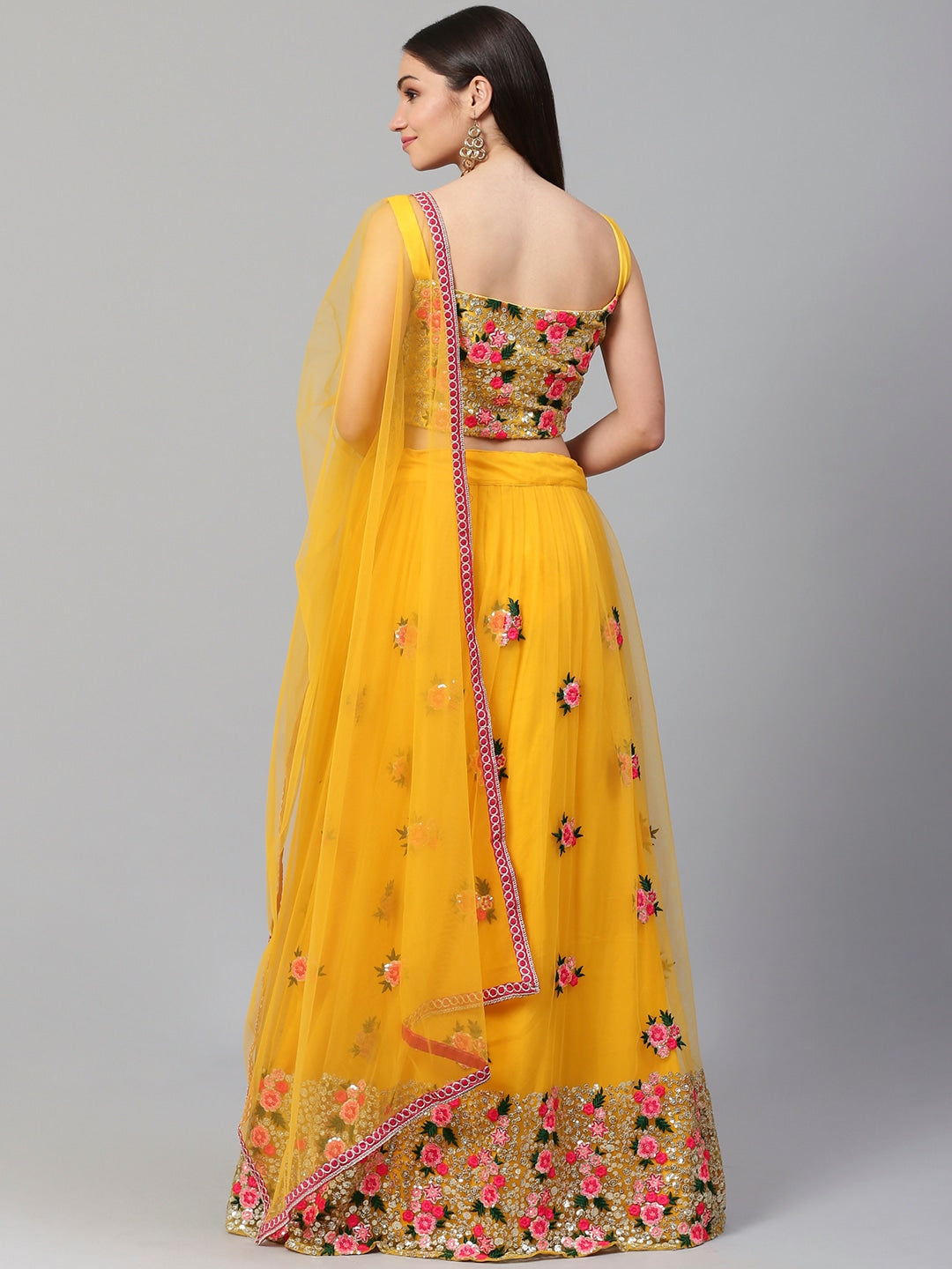 Net Yellow and Pink Embroidered Semi-Stitched Lehenga /& Unstitched Blouse with Dupatta