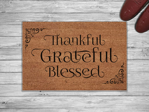 Thankful Grateful Blessed Customized Doormat