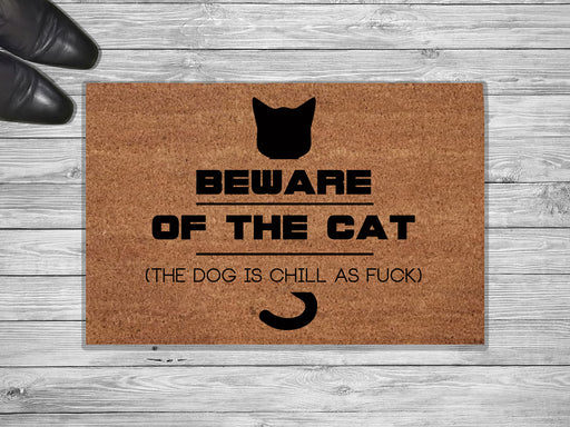 Beware Of The Cat Customized Doormat