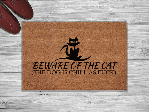 Beware Of The Cat Design Customized Doormat