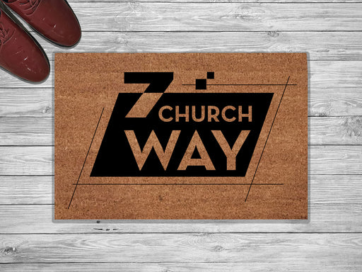 Church Way Personalized Address Doormat